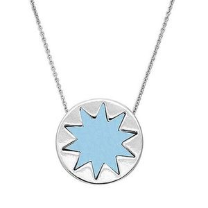 House of Harlow Baby Blue Leather/Silver Sunburst